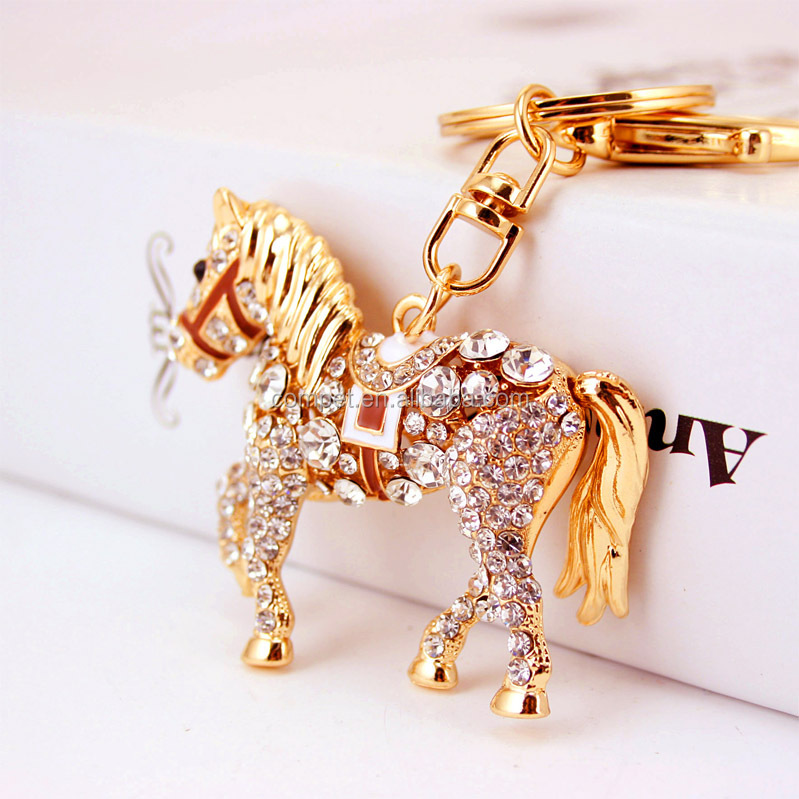 Wholesale promotional ornaments rhinestone horse keychain
