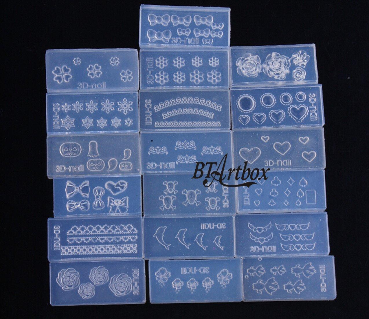 BTArtbox Random Style 6 pcs 3D Acrylic Nail Art Mold DIY Nail Art Design Silicone Carving Template Mold