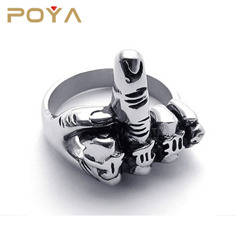 POYA Jewelry Mens Biker Middle Finger Up Stainless Steel Ring Silver Black