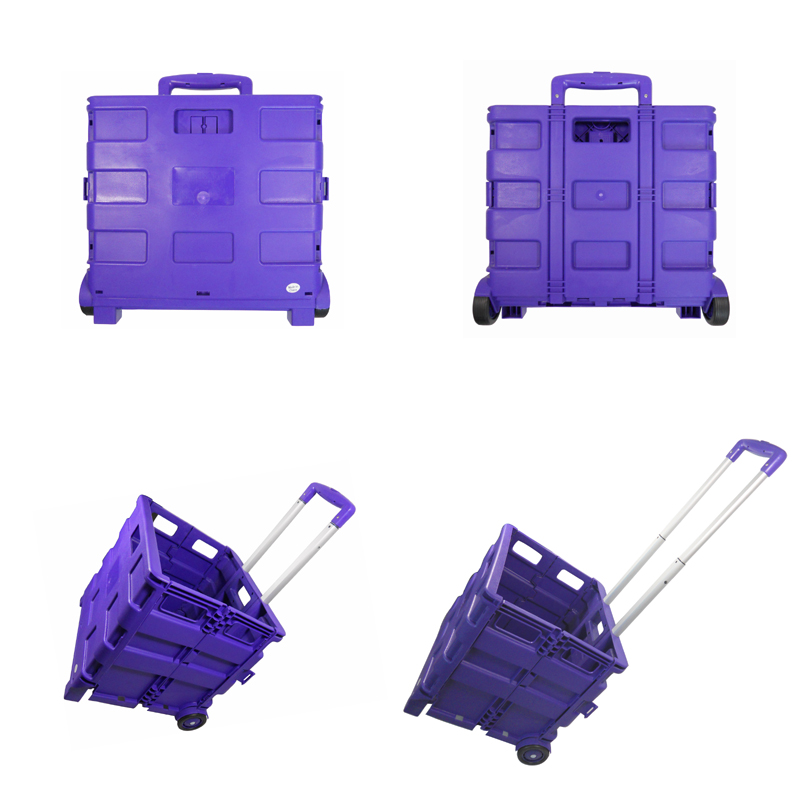 Multicolor portable wholesale plastic trolley mini folding shopping cart