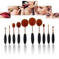 China Manufacturers 10 Pcs Soft Oval Toothbrush Cosmetics Black Makeup Brush Set