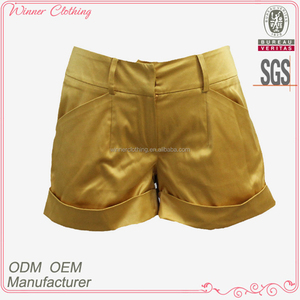 2016 Casual Dairy Wear Yellow Polyester Satin Women Shorts