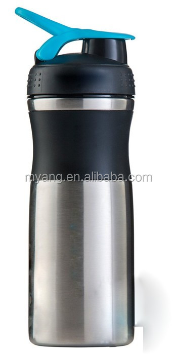 800ml/28 ounce stainless steel gym fitness shaker bottle