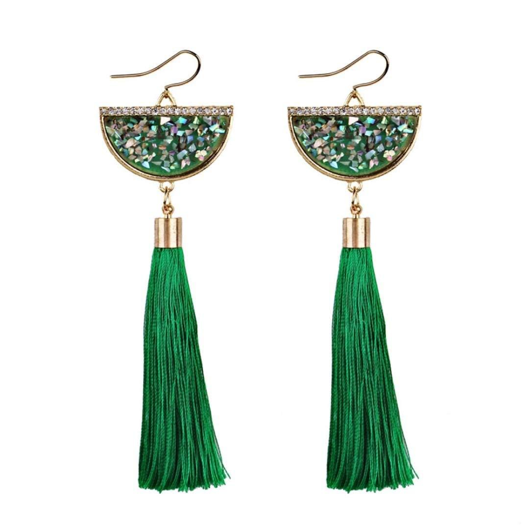 Clearance Deal! Hot Sale! Earring, Fitfulvan 2018 Vintage Women Bohemian Earrings Long Tassel Fringe Dangle Earrings Mother's Day Gifts Earrings Jewelry (Green)