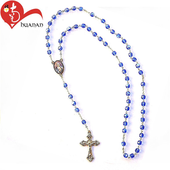 Long chain catholic blue crystal diamond rosary cross necklace