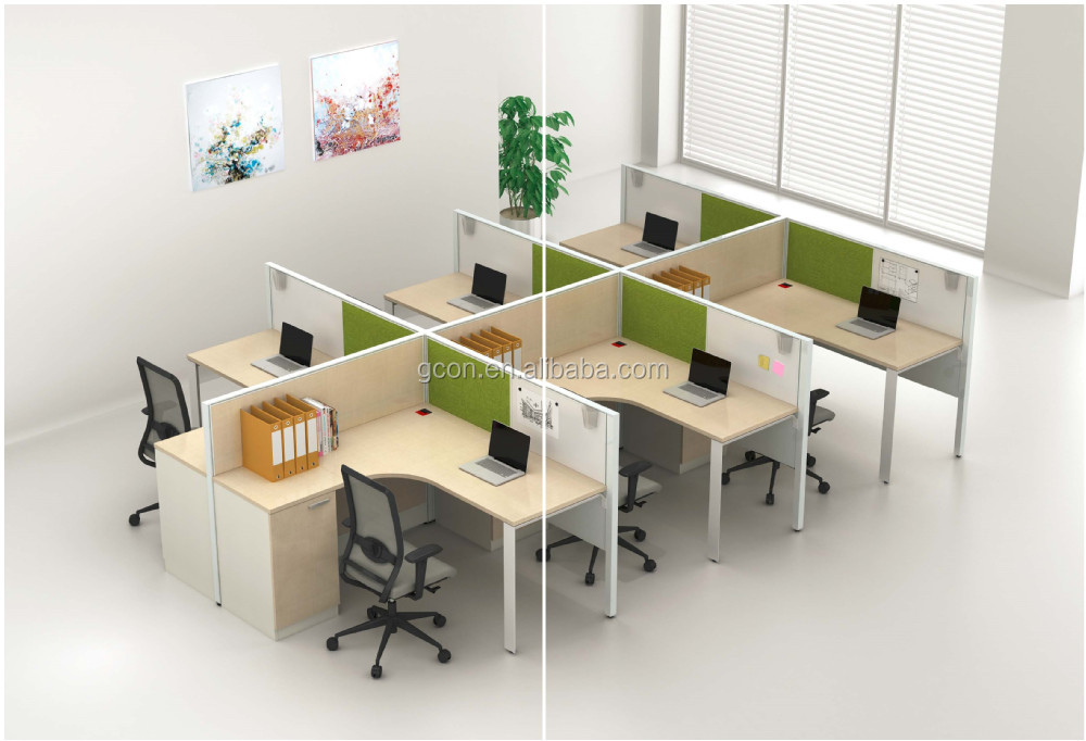 Modern office cubicles workstation desk for 6 persons with for Cubiculos de oficina