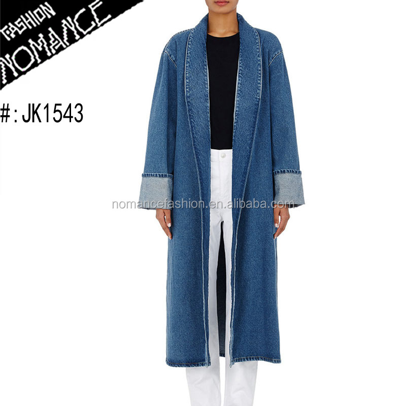 long ladies trench denim coat pattern