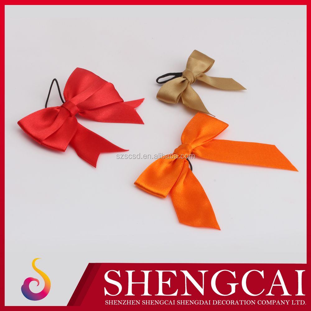 Wholesale Self adhesive pre-made elastic Christmas gift ribbon bow