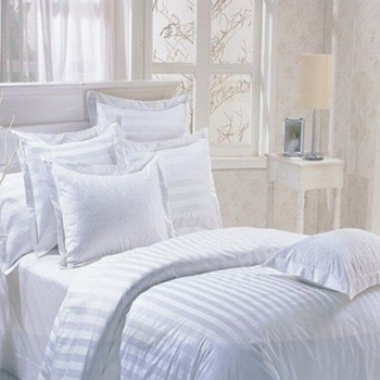 280cm Wide Cotton White Satin Stripe Fabric For Making Bed Sheets