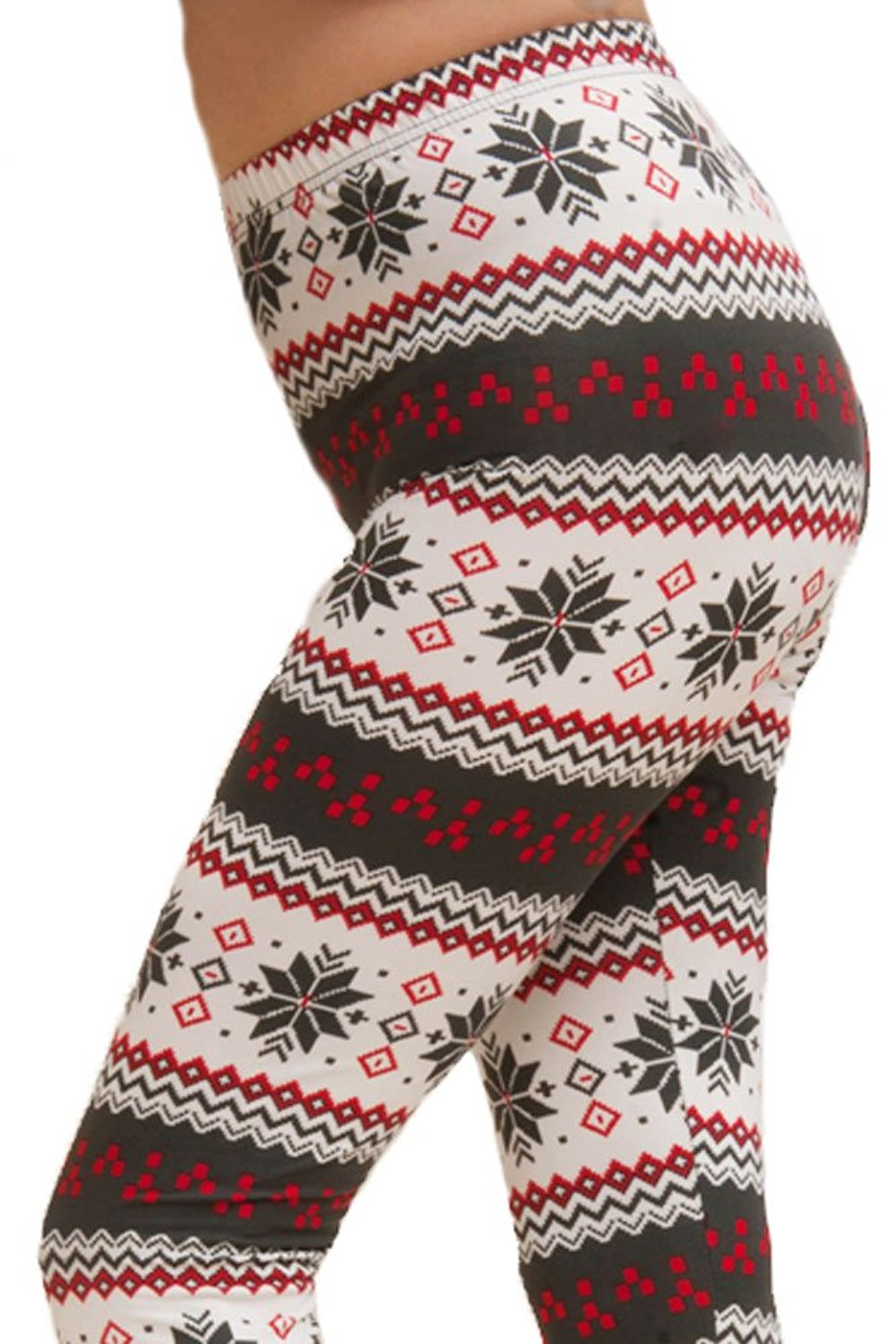 7a35d99ef88f6b Get Quotations · ED Seasonal Holiday One Size Print Leggings for Regular  Plus Girls - Reindeer Snowflake Fair Isle
