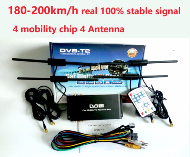 DVB-T2 Car DVB-T2 <strong>TV</strong> Receiver 4 <strong>Tuner</strong> 4 Antenna USB HDTV Russia High Speed