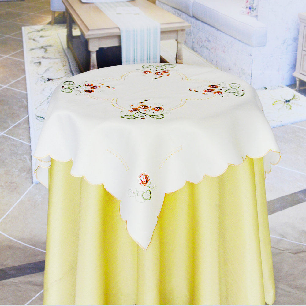 plum blossom embroidery table cloth with cutworks