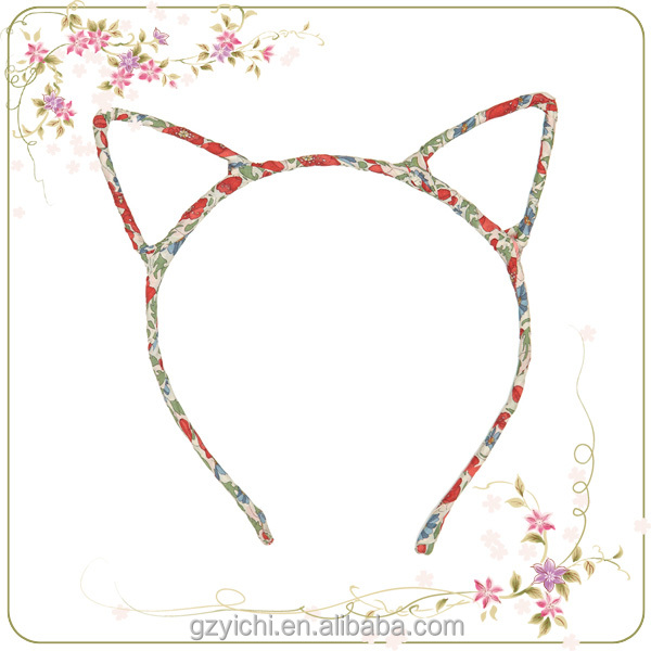 Promotion Cute Cat Ear Design Printing Beautiful Flower Wedding Accessories Baby Headband Girls Hair Hoop