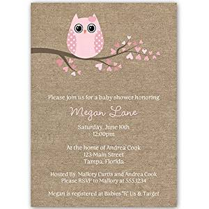 Owl Baby Shower Invitations, Burlap, Rustic, Cottage Chic, Baby Girl, Feather Their Nest, Pink, Personalized, Customized, 10 Printed Invites and Envelopes, Babies are a Hoot