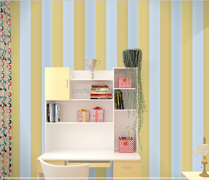 Self-adhesive PVC stripe wallpaper modern designs waterproof for bedroom decor wall sticker for decoration