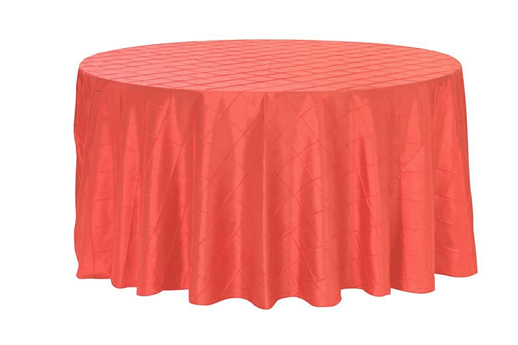 Your Chair Covers - 120 inch Round Pintuck Taffeta Tablecloths Coral, Round Table Linens for 5 ft Round Tables