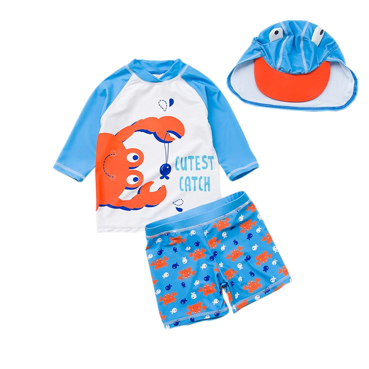 947670bedb Get Quotations · TAIYCYXGAN Baby Toddler Boys Two Pieces Swimsuit Set Boys  Long Sleeve Crab Bathing Suit Rash Guards