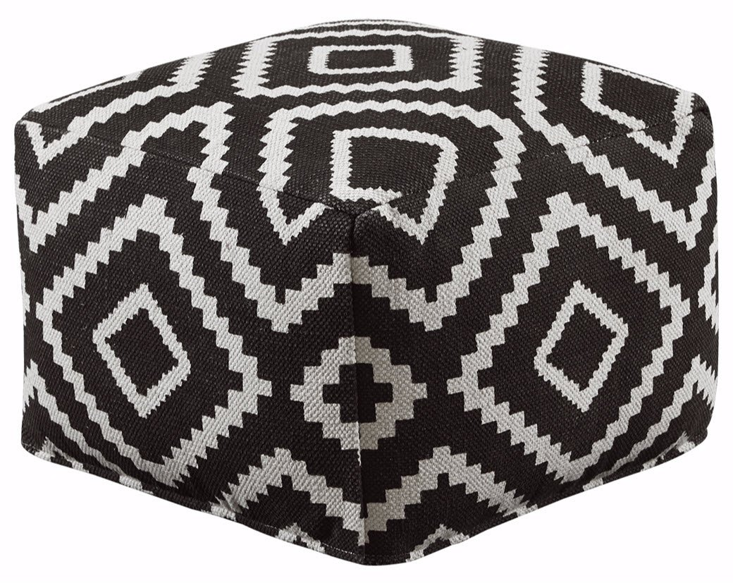 Ashley Furniture Signature Design - Geometric Pouf - Handmade - Imported - Traditional - Black