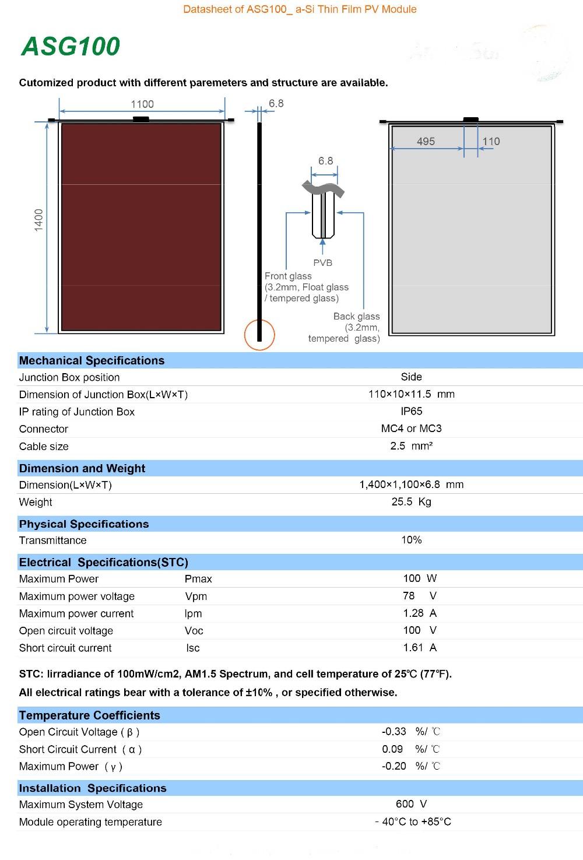 Cellule Photovoltaïque En Silicium Amorphe dedans 100 w mince film module,silicium amorphe À couche mince panneau