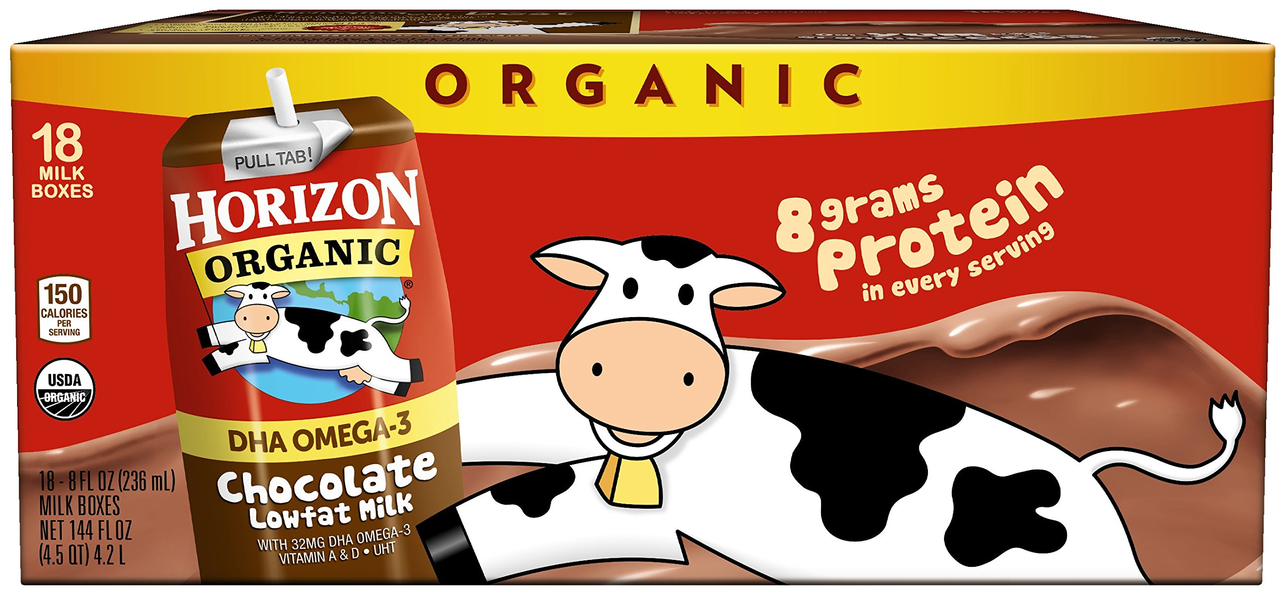 Horizon Organic, Lowfat Organic Milk Box With DHA Omega-3, Chocolate, 8 Ounce (Pack of 18), Single Serve, Shelf Stable Organic Chocolate Flavored Lowfat Milk, Great for School Lunch Boxes, Snacks