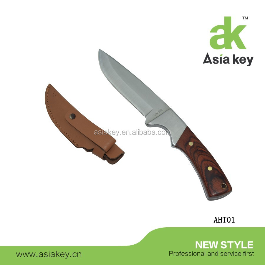 Colour Wood Handle Fixed Blade Hunting Knife With PU Leather Cover
