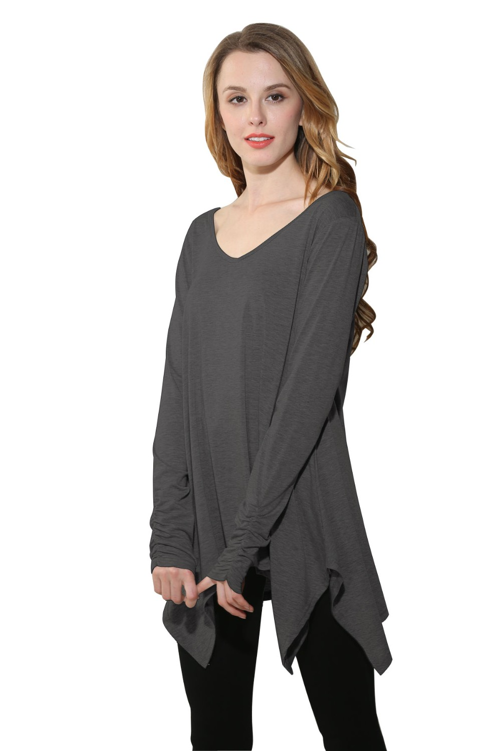 Womens V-Neck Long Sleeve Shirt Flowy Comfy Loose Casual Tunic Tops