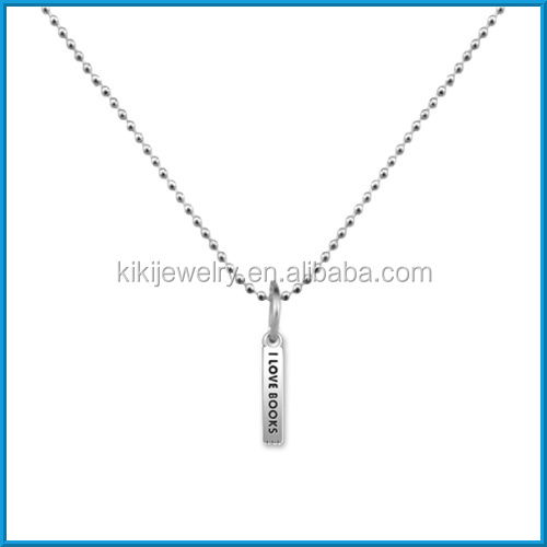 i love books metal bar pendant ball chain necklace