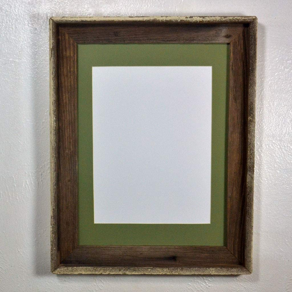Rustic Picture Frame Reclaimed Wood Wall Hung With 9x12 Sage Green Mat And Gl 12x16 Without
