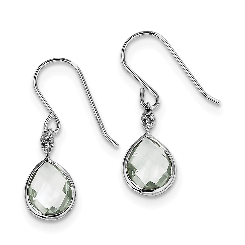 .925 Sterling Silver Rhodium-plated Green Quartz & Diamond Dangle Earrings