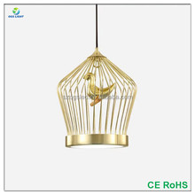 Modern Retro 2017 Gold Wrought Iron Hanging Chandelier Bird Resin Decor Cage Lighting Acrylic LED Lighting Pendant with Chord