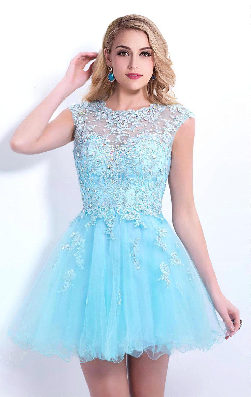 Online Get Cheap Short Light Blue Homecoming Dresses ...