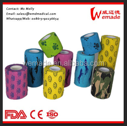 High quality Elasticated Printing Cohesive Bandage Vet wrap for Knee Support/horse/finger protection