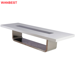 Modern Marble Top 10 Person White Office Conference Room Furniture Meeting Table with Socket