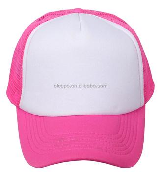 Neon Pink White Two-Tone Adjustable Plain Snapback Trucker Hats Mesh  Snapback Cap 9aeaa077d0f