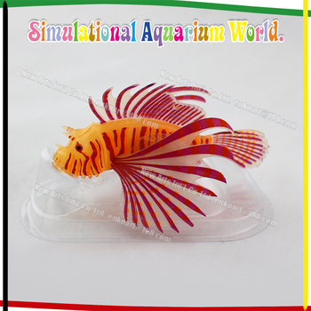 Aquarium Decoration Silicone Lionfish Fluorescent And Glow In The Dark Effect Fish Tank Ornament
