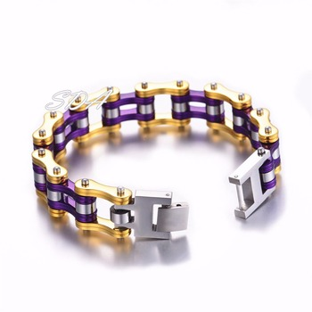 Punk Stainless Steel Purple Chains Link Bracelet Mens Gold Motorcycle Biker