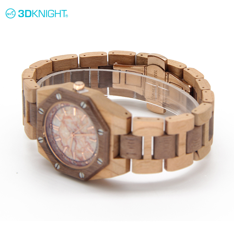 Natural Cherry+Walnut wood wholesale european style wrist watches sale made in China