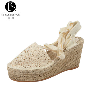 267282b59a2 Lady Slingback White Lae Tie Leg Espadrille Wedges Tie Up Sandals Women  High Sale High Wedge Espadrilles Shoes - Buy Women High Espadrilles ...