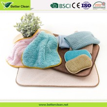 Coral fleece with scrubber sponge home kitchen cleaning dish towel set