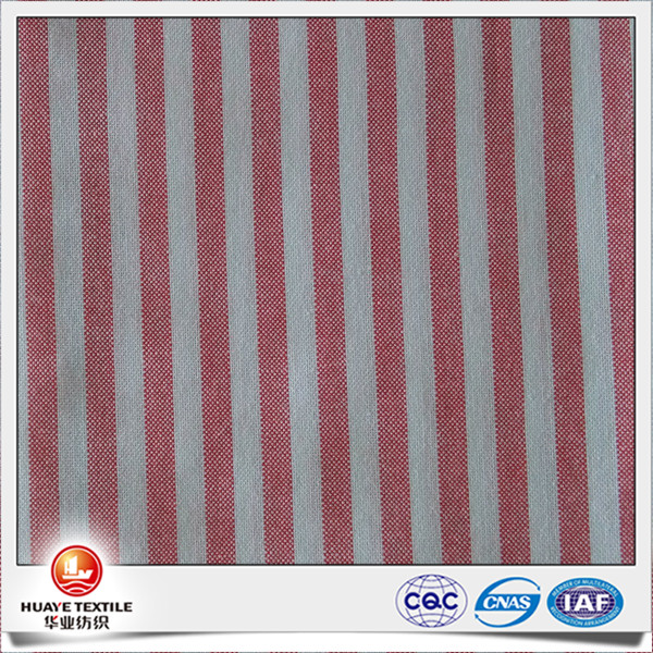 Yarn Dyed Shirt red and white striped 100 percent cotton oxford fabric with free sample