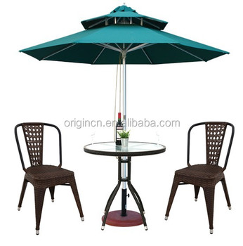 2 Seater Round Umbrella Hole Design Outdoor Coffee Shop