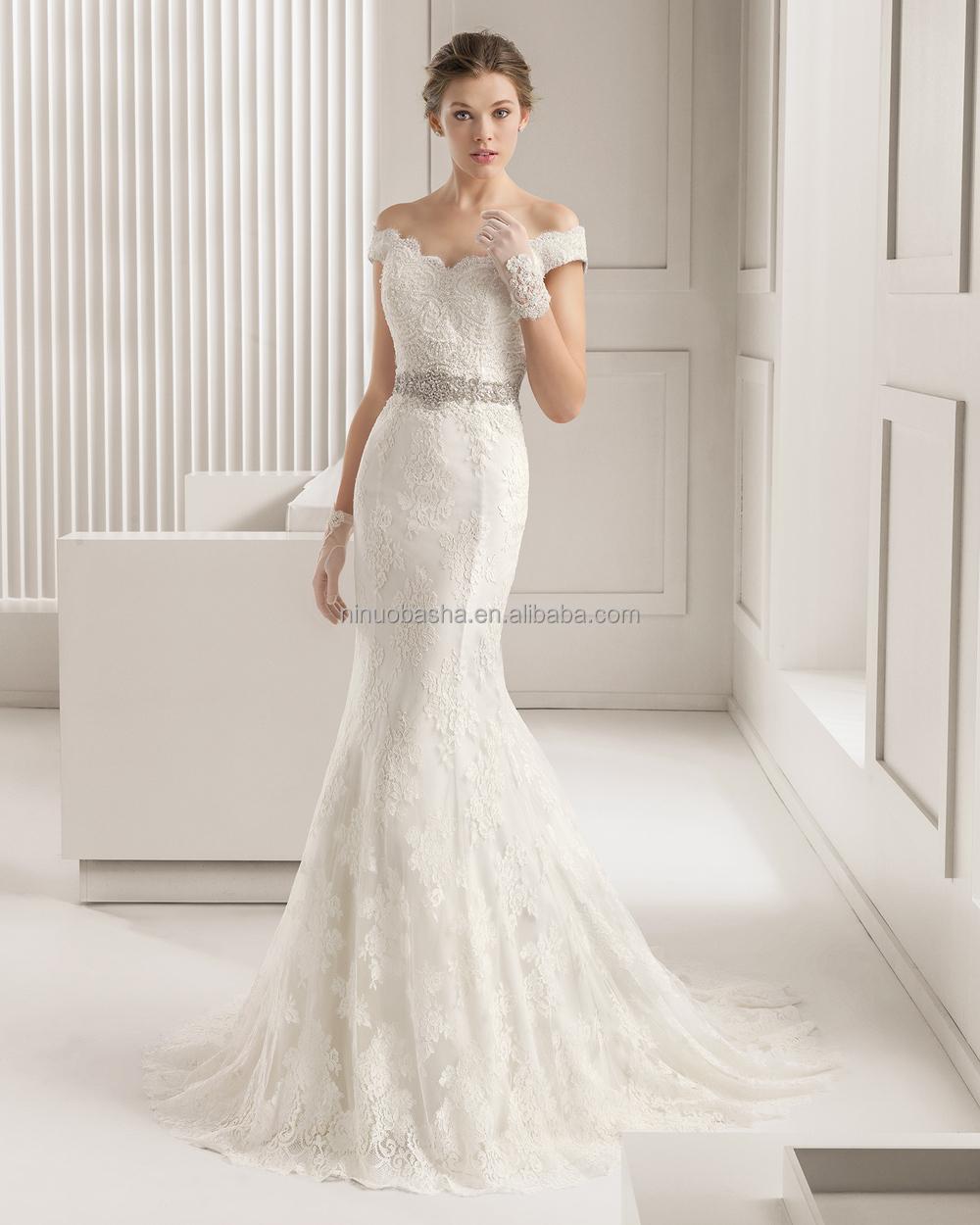 Elegante 2015 encaje sirena vestido de novia con cuello en V off ...