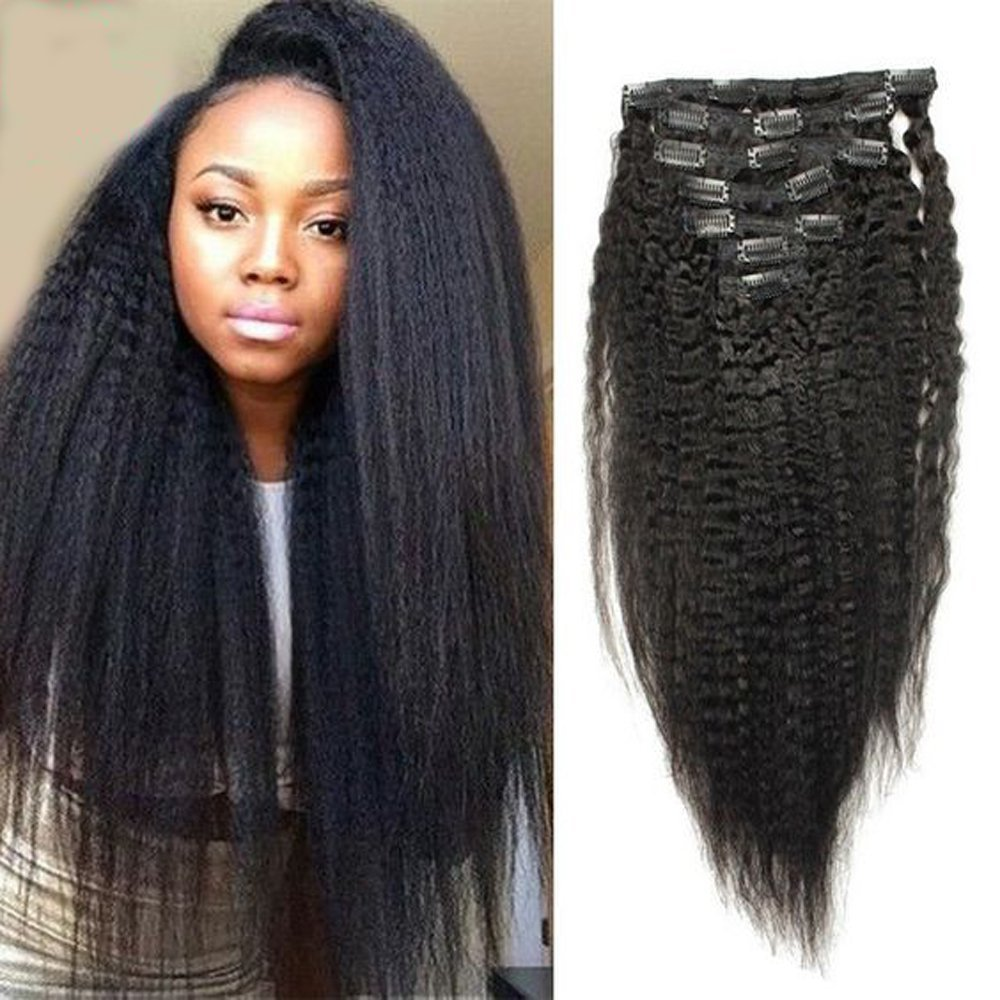 """Amethyst 16""""-22"""" Unprocessed Peruvian Hair kinky Straight Clip In Human Hair Extensions 100g Clip-in Wefts For Black Women 7pcs/set 8pcs/set 10pcs/set (20inch, 7pcs/set)"""