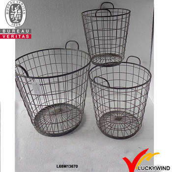 Bulk Recycled Decorative Round Rustic Wire Basket