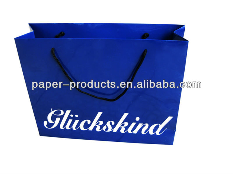 Blue Glossy Shopping Bag Storage Paper Bag Large Shopping Bag With Black Handles