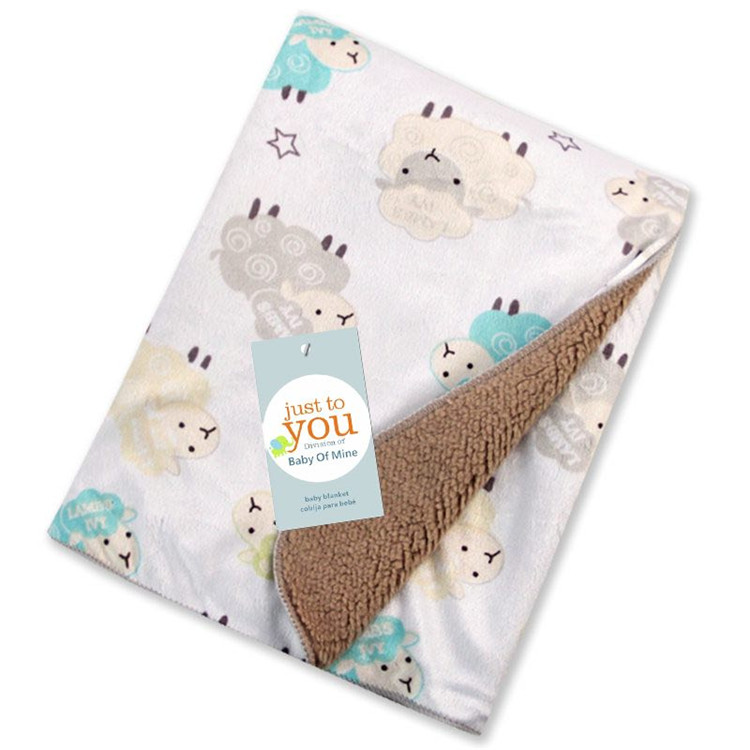Soft and warm knit animal print newborn polar fleece receiving blanket baby