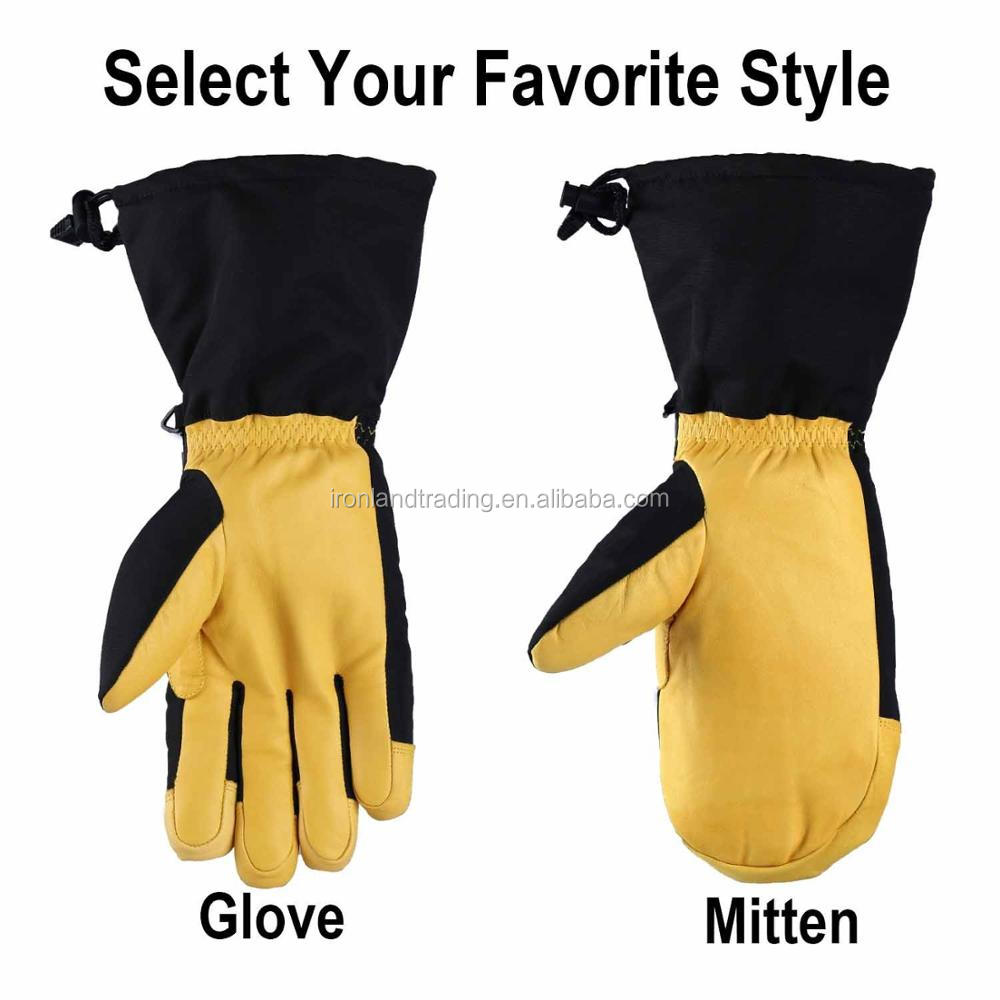 Wholesale Outdoor Waterproof Snowboard Yellow Leather Winter Ski Gloves Mittens