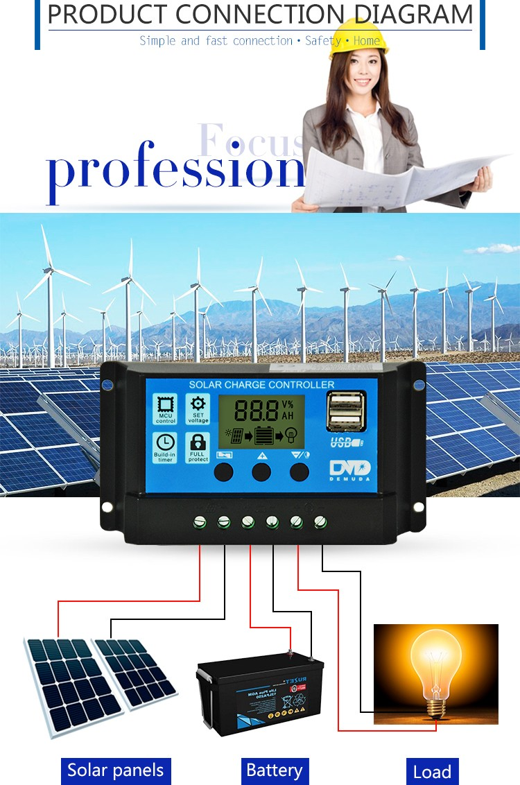 12v 24v 10a 20a 30a 40a 50a Solar Charger Controller Manual Pwm Charge Wiring Diagram Energy Systems Intelligent With Lcd Display Double