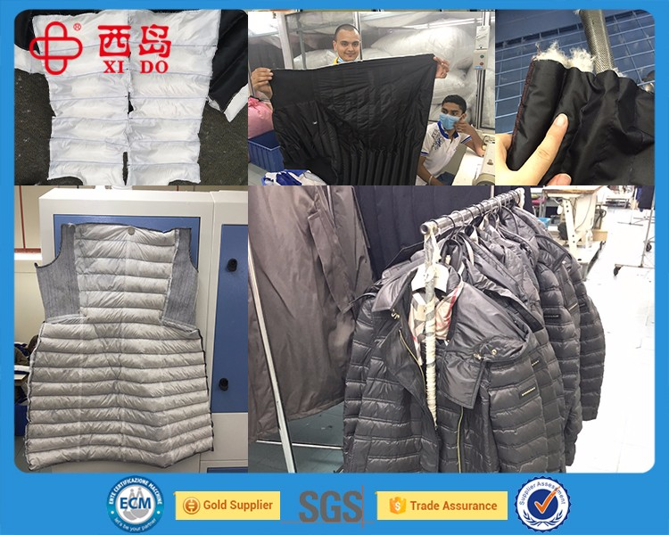 Our customers use down jacket filling machine to fill jacket. High speed and accuracy.