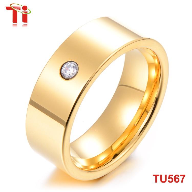 8mm stone inlaid gold ring design for men tungsten carbide saudi